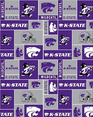 Fleece (not for Masks) Kansas State University Wildcats College Fleece Fabric Printby the yard