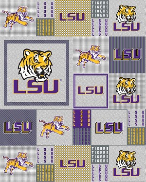 LSU Louisiana State University™ Tigers™ Grey Patchwork College Micro Fleece Fabric Print