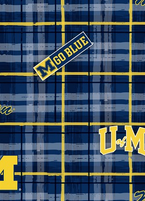 Cotton University of Michigan™ Wolverines™ Plaid College Cotton Fabric Print