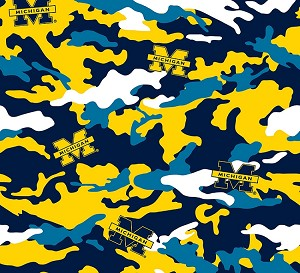 Cotton University of Michigan™ Wolverines™ Camouflage College Cotton Fabric Print