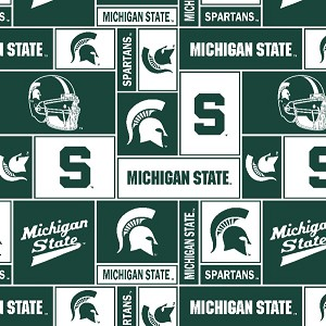 Michigan State University™ Spartans™ squares All-Over Dark Green College Fleece Fabric Print