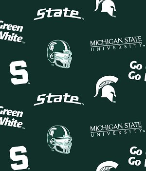 Michigan State University™ Spartans™ Dark Green Helmets All-over College Fleece Fabric