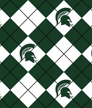 Michigan State University™ Spartans™ Dark Green Argyle Design College Fleece Fabric Print