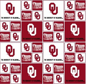 Cotton University of Oklahoma Sooners College Team Cotton Fabric Print (ou-020)