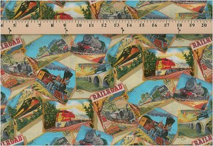 Cotton Trains Railroad Engine Tracks Travel All Aboard Fabric Print By the Yard (5073 Cream)