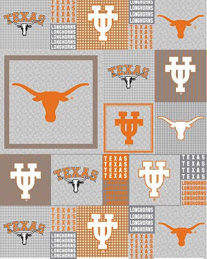 Fleece (not for masks) University of Texas Longhorns Grey Patchwork College Micro Fleece Fabric Print by the yard