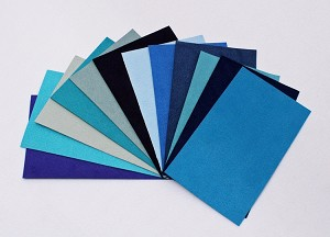 "Ultrasuede® ST (Soft) 6 Piece Variety Pack - Assorted 3""x 5"" Precuts - Blue Blues Aqua (U007.02)"
