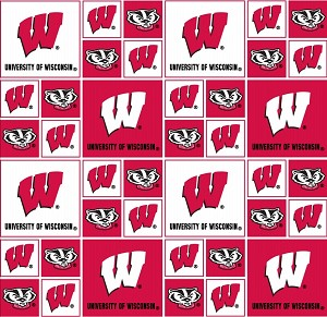 Cotton University of Wisconsin Badgers College Team Cotton Fabric Print (wis-020)