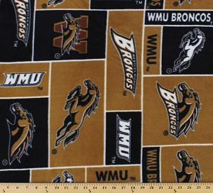 Fleece Western Michigan University™ Broncos™ WMU College Fleece Fabric Print