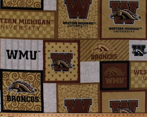 Fleece (not for masks) Western Michigan University Broncos College Fleece Fabric Print By the Yard (wmchg1177)