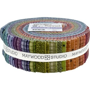 "Flannel Jelly Roll Woolies Colors Flannel by Bonnie Sullivan Plaid 2.5"" Strips Roll Up Fabric Bundle Cotton Precuts (ST/MASWOF-COL) M529.01"
